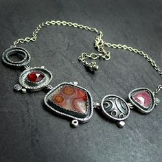 Agua Nueva Agate Garnet and Ruby Sterling by McComseyDesigns