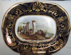 DERBY 19 TH CENTURY MINI PLATER. CENTRED WITH A PAINTING    REMAINS OF THEPRIORY, HOVERFORDIVEST.