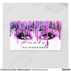 Professional Hair Makeup Beauty Salon Hot Pink Business Card