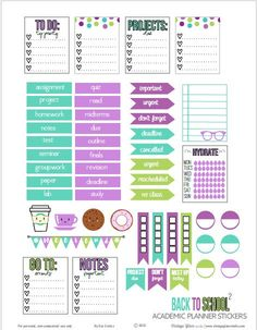 Back to School Planner Stickers   Free printable download.