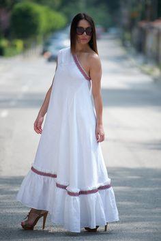 White Linen Dress for Woman/One Shoulder Boho Dress/Long Ethno Dress for Woman/Ukrainian Dress/Party Wear Dress/Long Dress/ White Boho Dress, White Linen Dresses, Bohemian Dresses, Party Wear Dresses, Casual Dresses, Dresses Dresses, Dress Party, Dresses Online, One Shoulder Dress Long