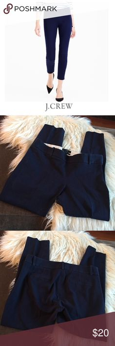 J. Crew Navy Blue Minnie Pants J. Crew Navy Blue Minnie Pants. 8.5 inch rise. Side zipper. 25 inches long. Gently worn. Great condition. Feel free to make an offer or bundle & save. J. Crew Pants Ankle & Cropped
