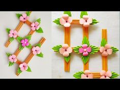 Wall Hanging with Paper / paper craft wall mate ওয়ালমেট Paper Doily Crafts, Color Paper Crafts, Paper Flowers Craft, Paper Flower Wall, Easy Paper Crafts, Craft Stick Crafts, Flower Crafts, Paper Wall Hanging, Handmade Wall Hanging