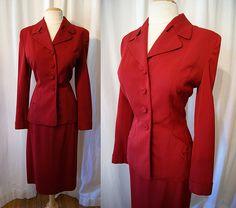Classic 1940's bordeaux wool gabardine two piece by wearitagain