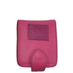Porta batom em couro com textura de avestruz na cor rosa.