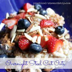 Overnight crock-pot Steel Cut Oats--add toppings of choice in morning.