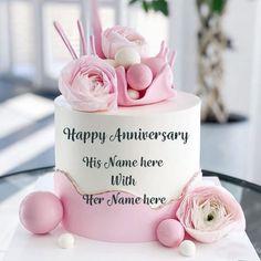 Happy Marriage Anniversary Cake, Anniversary Cake Pictures, Anniversary Cake With Name, Happy Wedding Anniversary Wishes, Anniversary Greetings, Happy Birthday Greetings, Happy Birthday Cakes, Birthday Wishes, Anniversary Cards