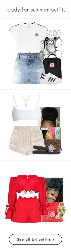 """""""ready for summer outfits"""" by trinsowavy ❤ liked on Polyvore featuring Forever 21, adidas, Fjällräven, Dsquared2, adidas Originals, Topshop, Jade Swim, Alberta Ferretti, Miya and Boohoo"""