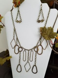 Faux Brass Chain Necklace Set by LaviniasJewelry on Etsy