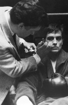 Alain delon during the shooting of Rocco and his brother