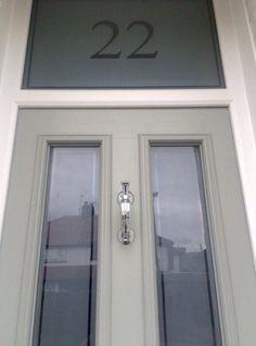 The Window Company - Installations Gallery Grey Front Doors, Victorian Front Doors, Victorian Porch, Front Door Porch, Front Doors With Windows, Front Door Entrance, House Front Door, Front Door Colors, Glass Front Door