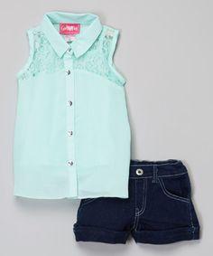 Love this Mint Lace Button-Up & Denim Shorts - Toddler on #zulily! #zulilyfinds