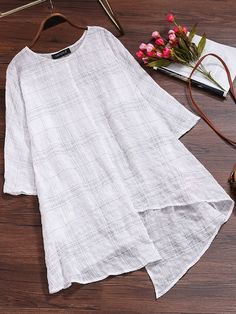 Vintage Women Long Sleeve Plaid Asymmetrical Baggy Blouse - sew what. Kurta Designs, Blouse Designs, Bluse Outfit, Boys Clothes Style, Clothes Women, Sleeveless Jacket, Blouse Online, Blouse Styles, Blouses For Women