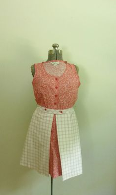 Vintage 1960s1970s Red and White Calico and Plaid by rileybella123, $35.00