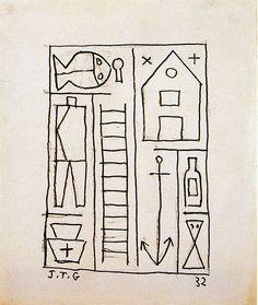 """Estructura"" 1932. Tinta sobre papel. 18.6 x 15.7 cm. Joaquín Torres García · Obra · Artistas Vanguardia Histórica, Arte Moderno · Leandro Navarro"