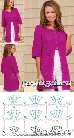 Crochet Stitches Free, Crochet Coat, Crochet Cardigan Pattern, Crochet Blouse, Crochet Scarves, Crochet Clothes, Lidia Crochet Tricot, Crochet Girls, Cardigans For Women