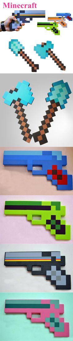 New Minecraft Foam Sword Pick Axe Shovel Gun Toys Minecraft Game EVA Weapons Model Toys for Kids Children Outdoor Fun & Play