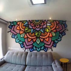 Dh DJ fh Th hmm hmm hmm tk Wall Art Designs, Paint Designs, Wall Design, Design Art, Wall Painting Decor, Mural Wall Art, House Painting, Mandala Drawing, Mandala Art