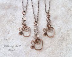 Coffee Necklace / tea cup necklace / copper wire wrapped jewelry handmade /