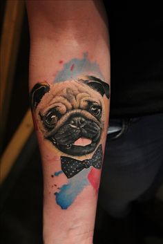 Vote up the best Pug tattoos below, and be sure to let us know what you think in the comment section! Tasteful Tattoos, Love Tattoos, 3d Tattoos, Pugs, Pug Tattoo, Dog Thoughts, Pug Art, Pug Love, Tattoo Inspiration