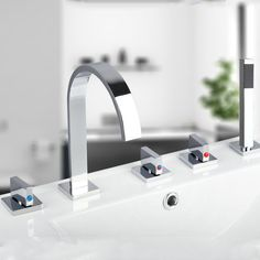 Rozin Bathroom Bathtub Tap 5 Units Chrome Polished Waterfall Glass Spout 3 Handles Cold and Hot Water Pull Out Handheld Rainfall Shower Sprayer Mixer Tap