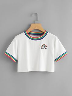 Striped Neck Rainbow Patch Tee Striped Neck Rainbow Patch TeeFor W… Striped Neck Rainbow Patch Tee Striped Neck Rainbow Patch TeeFor Women-romwe Teen Fashion Outfits, Kids Outfits Girls, Teenager Outfits, Tween Fashion, Fasion, Girl Fashion, Girl Outfits, Teen Crop Tops, Cute Crop Tops