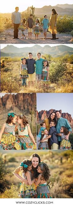 Beautiful family photography poses in the desert of of family of 6.  Posing families with 6 people in the desert.  Family photos taken by Phoenix family photographer Cozy Clicks.