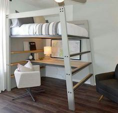 Practico Full Bed Loft, Full Size Bunk Beds, Full Beds, Loft Bed Plans, Bunk Bed Desk, Bunk Beds With Stairs, Bunk Beds With Storage, Teen Loft Beds, Lofted Beds