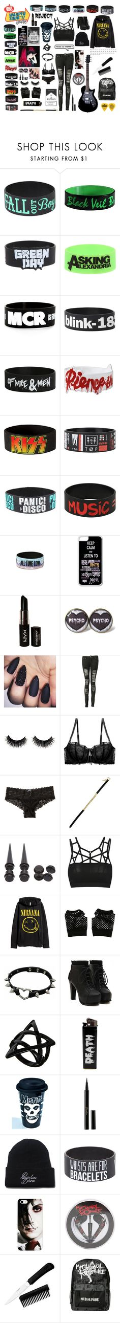 """Warped tour"" by frankie-and-gee ❤ liked on Polyvore featuring Hot Topic, NYX, Boohoo, Heidi Klum, Hollister Co., H&M, ASOS, Sourpuss and Guerlain"