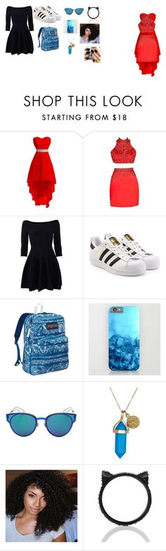"""party friends"" by castrobia on Polyvore featuring Jonathan Simkhai, adidas Originals, JanSport, Christian Dior, Dee Berkley and Kate Spade"