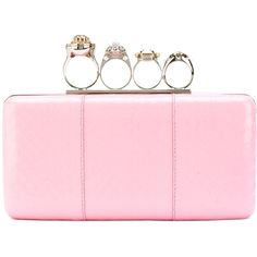 Alexander McQueen Knuckle box clutch ($2,695) ❤ liked on Polyvore featuring bags, handbags, clutches, pink, leather clutches, alexander mcqueen purse, alexander mcqueen clutches, light pink leather purse and pink clutches