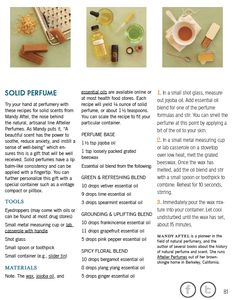 Solid perfume recipe-gonna try this for Christmas gifts...assuming they turn out!