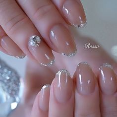 Christmas Nail Designs - My Cool Nail Designs Elegant Nail Designs, Elegant Nails, Gel Nail Designs, Nails Design, Glitter French Nails, Glitter Nails, Bride Nails, Wedding Nails, Cute Nails