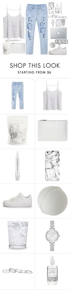 """""""Work from Home"""" by alibasicamina ❤ liked on Polyvore featuring MANGO, Whistles, Sephora Collection, Casetify, NIKE, Nails Inc., Schott Zwiesel, Kate Spade, Kendra Scott and Herbivore"""