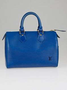 Authentic Louis Vuitton Toledo Blue Epi Leather Speedy 25 Bag at Yoogi's Closet. Out Of Style, Authentic Louis Vuitton, Louis Vuitton Speedy Bag, Going Out, Footwear, Handbags, Purses, Classic, Leather