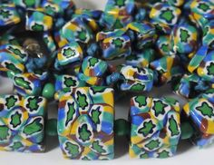 VINTAGE VENETIAN DECO MATCHING MILLEFIORI SQUARE CUBE GLASS BEAD NECKLACE HAND R | eBay