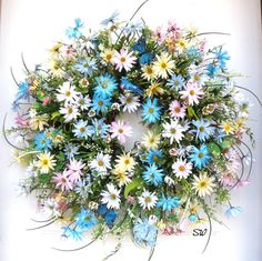 Spring Wreath-Daisy Wildflower Wreath-Pastel by SeasonalWreaths