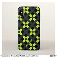 Personalized Green, Gray And Black Geometric