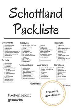 Schottland Packliste: Hier erfährst Du, was Du wirklich auf deine Schottland Reise mitnehmen solltest. Inkl. Checkliste zum Ausdrucken.