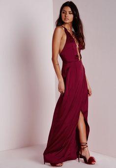 Satin Strappy Maxi Dress Burgundy - Dresses - Maxi Dresses - Missguided
