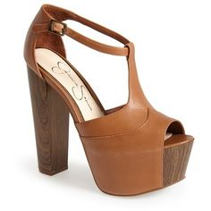 """Jessica Simpson 'Dany' Sandal, 5 3/4"""" heel ($110) ❤ liked on Polyvore featuring shoes, sandals, burnt umber, chunky high heel sandals, high heel platform sandals, wooden platform sandals, chunky sandals and leather ankle strap sandals"""