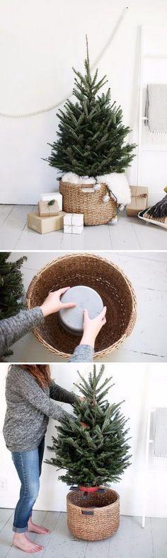 DIY Christmas Tree Stand Using Bucket Upside Down In A Large Basket. #christmas #diychristmas