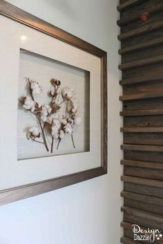 I love this simple framed cotton- part of a modern farmhouse home tour   Design Dazzle