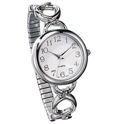 Easy-to-Read Silvertone Link Watch  836-025  Reg. $29.99  Sale $14.99  Silvertone case and dial with oversized numbers. Expansion band fits most sizes.