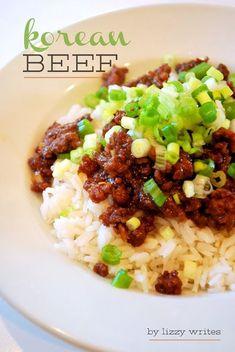 Korean ground beef. We had this for dinner tonight. It was a good family dinner and easy to make. The only thing we changed was to add about 1/4 cup more soy sauce and to throw in 1/2 of the green onions to cook a little for the last 2-3 minutes. Would be really good served with a fresh fruit salad to brighten it up.!