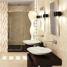 These large wall tiles in a rich blend of coffee colours and with a gloss finish have an opulent feel. They are perfect wall tiles for kitchen walls or for bathrooms where a luxurious design is desired.