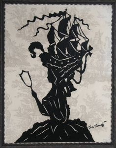 Marie Antoinette - Large Hand-Cut Silhouette Papercut On Toile Fabric And Canvas, 22x28, Limited Collectors Edition
