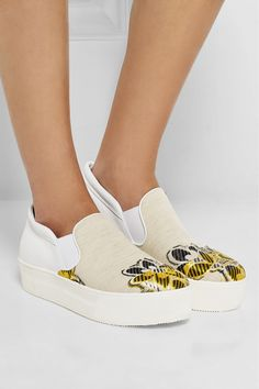 No. 21 | Leather-paneled embroidered canvas slip-on sneakers | NET-A-PORTER.COM