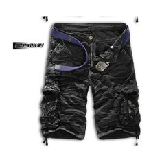 Men Shorts Casual Cargo Combat Camouflage Sports Pants black and white