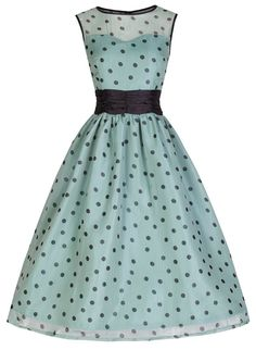 50's robin's-egg blue dress with black polka dots.